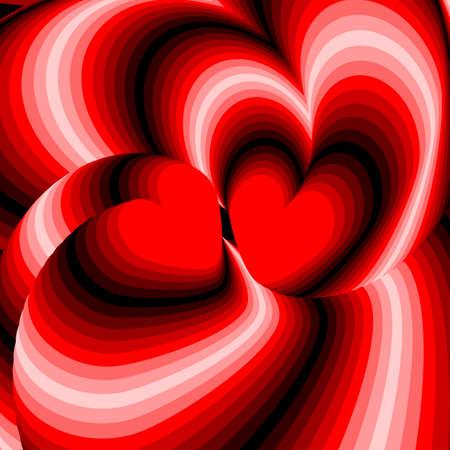 torsion: Design hearts twisting movement illusion background. Abstract strip torsion backdrop. Vector-art illustration. No gradient Illustration