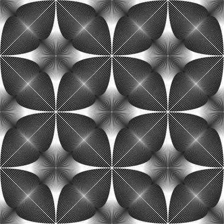 interlace: Design seamless in bianco e nero. Abstract linee con texture di sfondo. Vector art. Nessuna sfumatura Vettoriali