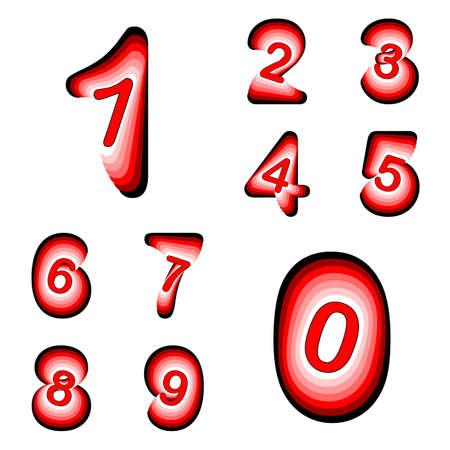 Design numbers set. Colorful waving line textured font. Vector-art illustration. No gradient Vector