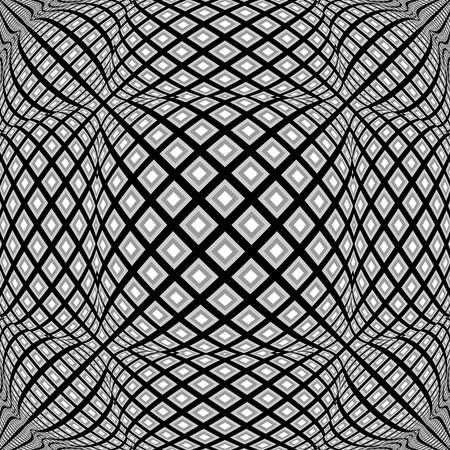 checkered volume: Design monochrome warped diamond pattern. Abstract convex textured background. Vector art. No gradient