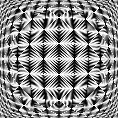 checkered volume: Design warped square trellised pattern. Illustration