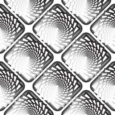 twisting: Design seamless monochrome vortex twisting pattern. Illustration