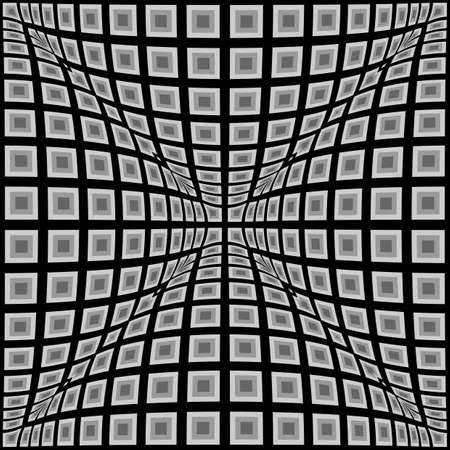 convex: Design monochrome warped checked pattern. Abstract convex textured background. Vector art. No gradient Illustration