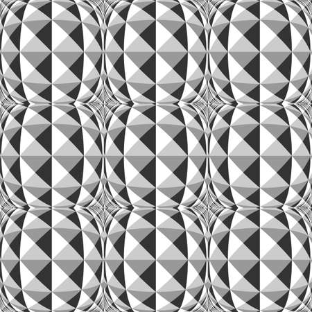 checkered volume: Design seamless monochrome geometric pattern. Abstract convex textured background. Vector art