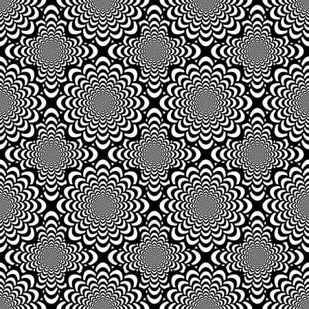 Design seamless monochrome spiral movement pattern. Abstract background in op art style. Vector art