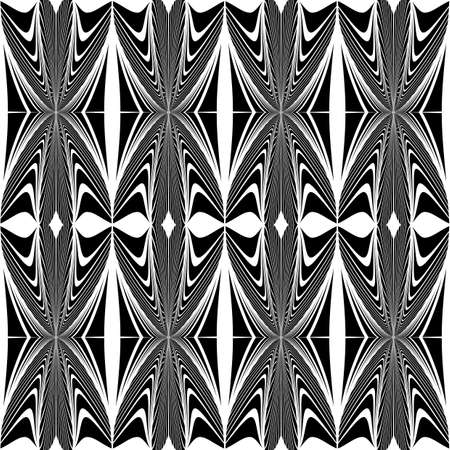 Design seamless geometric decorative pattern. Abstract monochrome waving lines background. Vector art Vector