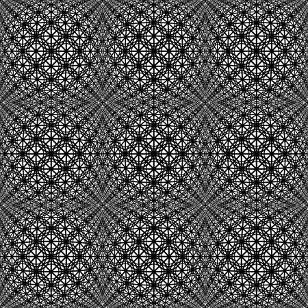 latticed: Design seamless monochrome warped grid decorative pattern. Abstract lacy latticed textured background. Vector art Illustration