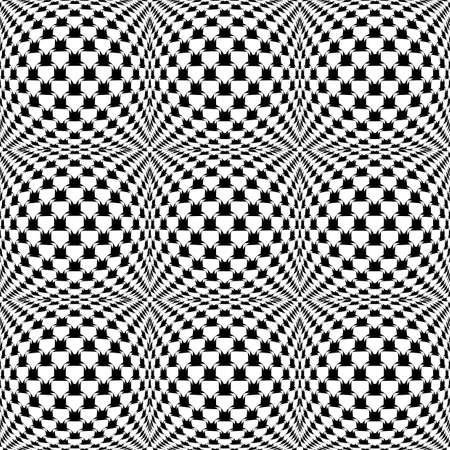 checkered volume: Design seamless monochrome warped grid pattern. Abstract latticed textured background. Vector art