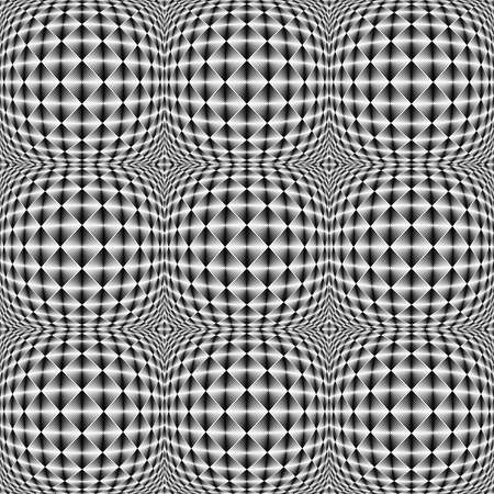 checkered volume: Design seamless warped square trellised pattern. Abstract geometric monochrome background. Vector art