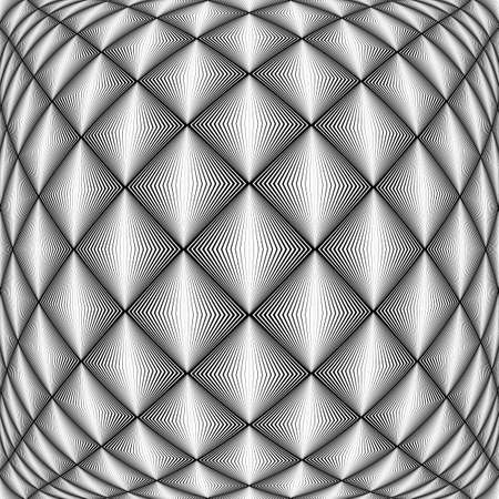 convex: Design seamless diamond trellised pattern. Abstract geometric monochrome background. Convex texture. Vector art. No gradient
