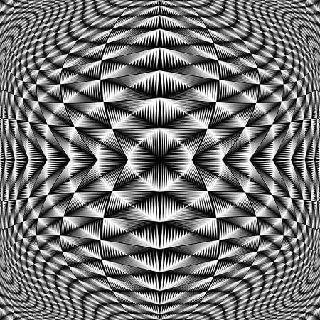 checkered volume: Design monochrome movement illusion checkered background. Abstract torsion backdrop. Vector-art illustration. No gradient Illustration