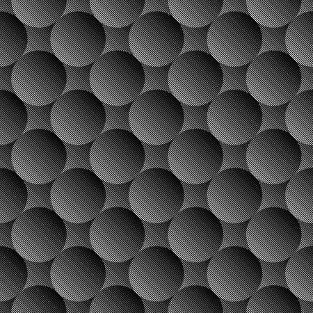 Design seamless monochrome volumetric sphere geometric lines pattern. Abstract textured background. Vector art. No gradient