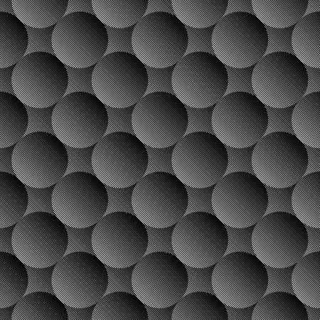 volumetric: Design seamless monochrome volumetric sphere geometric lines pattern. Abstract textured background. Vector art. No gradient