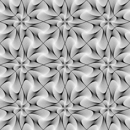 Design seamless twirl movement striped geometric pattern. Abstract monochrome waving lines background. Vector art. No gradient Illustration