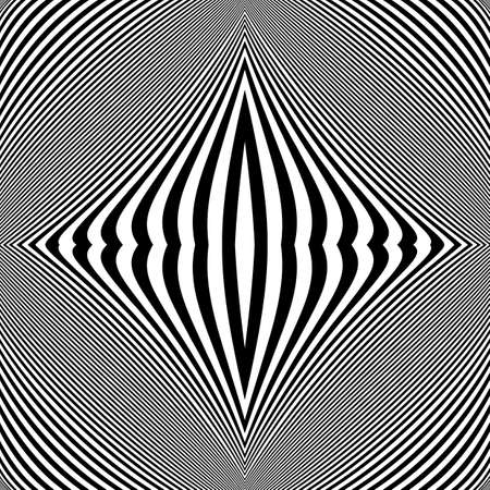 curve line: Design monochrome movement illusion background. Abstract striped lines distortion backdrop. Vector-art illustration. No gradient