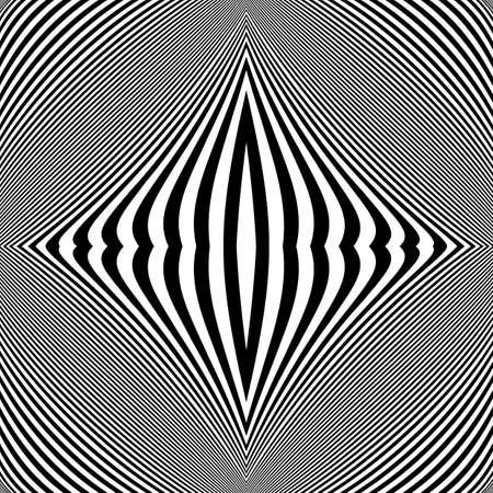 arte optico: Dise�o monocrom�tico fondo movimiento ilusi�n. L�neas de rayas abstractas distorsi�n tel�n de fondo. Ilustraci�n vectorial de �ltima generaci�n. No degradado