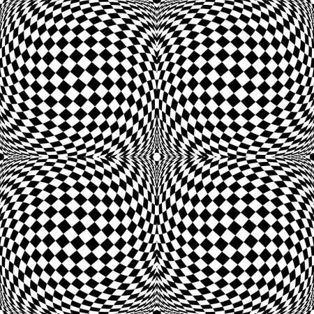 checkered volume: Design monochrome motion illusion checkered background. Abstract torsion backdrop. Vector-art illustration