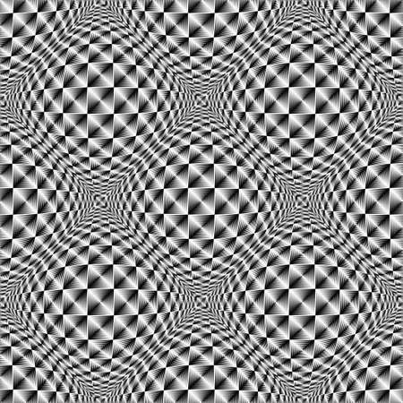 salient: Design seamless warped diamond trellised pattern. Abstract geometric monochrome background. Vector art