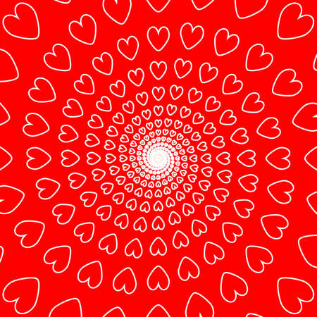red hearts: Design red heart spiral movement background. Valentines Day card. Vector-art illustration. No gradient