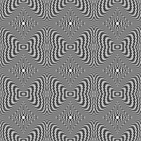 checkered volume: Design seamless monochrome motion illusion checkered background. Abstract torsion pattern. Vector art