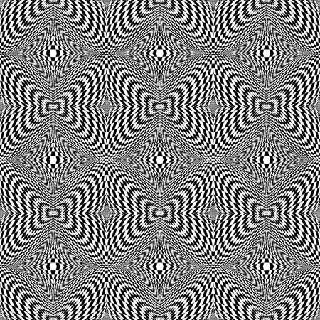 torsion: Design seamless monochrome motion illusion checkered background. Abstract torsion pattern. Vector art