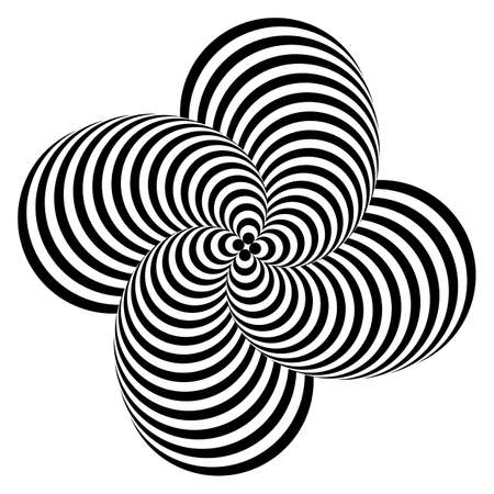 Design monochrome whirlpool motion illusion background. Abstract striped distortion backdrop. Vector-art illustration