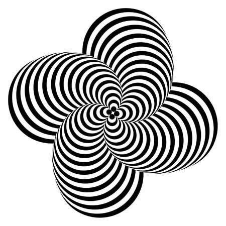 Ontwerp monochrome whirlpool motie illusie achtergrond. Abstracte gestreepte vervorming achtergrond. Vector-kunst illustratie