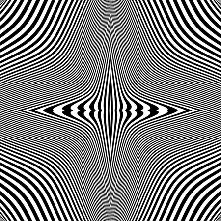 no lines: Design monochrome movement illusion background. Abstract striped lines distortion backdrop. Vector-art illustration. No gradient