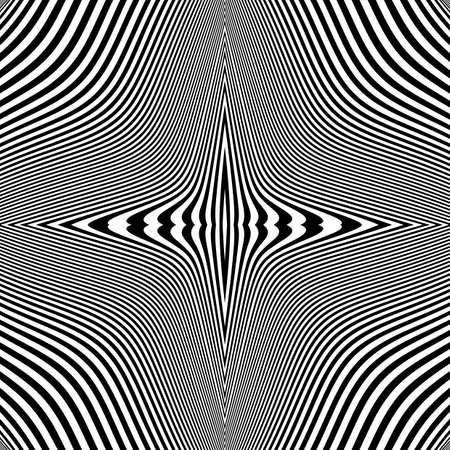 no gradient: Design monochrome movement illusion background. Abstract striped lines distortion backdrop. Vector-art illustration. No gradient