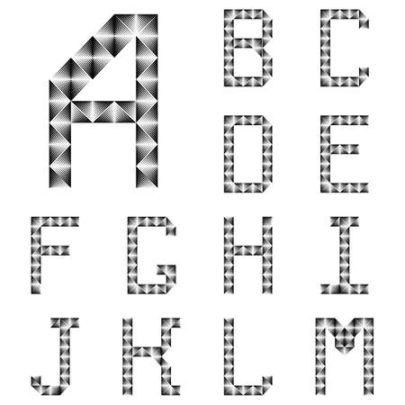 no gradient: Design ABC letters from A to M. Strip lines textured font. Vector-art illustration. No gradient