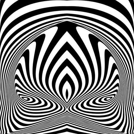Ontwerp monochrome vortex beweging illusie achtergrond. Abstracte gestreepte torsie achtergrond. Vector-kunst illustratie Stock Illustratie