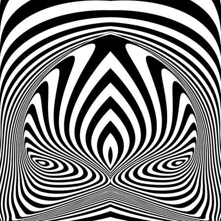 Design monochrome vortex movement illusion background. Abstract stripy torsion backdrop. Vector-art illustration