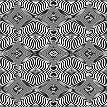 Design seamless monochrome whirl lines background. Abstract striped distortion pattern. Vector art. No gradient Vector