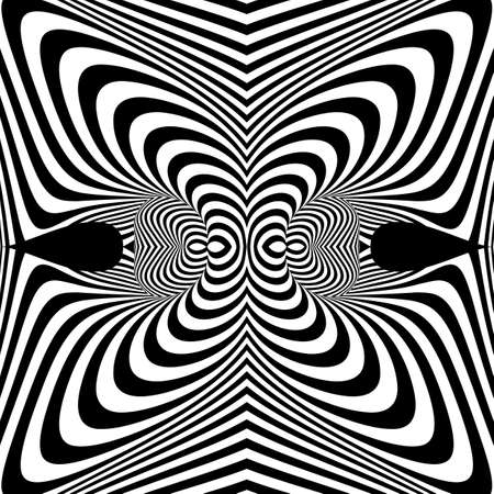Design monochrome whirl movement illusion background. Abstract stripe torsion backdrop. Vector-art illustration Ilustrace