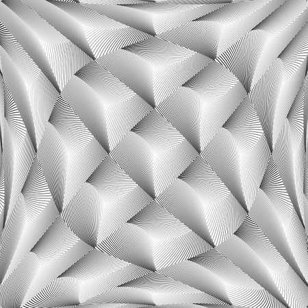 torsion: Design monochrome warped grid diamond pattern. Abstract volume textured background. Vector art. No gradient