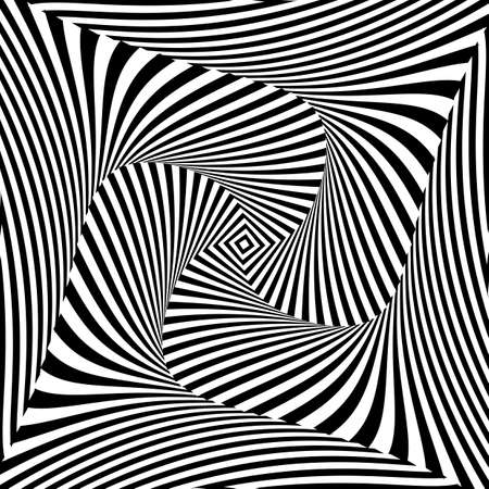 distortion: Design monochrome vortex movement illusion background. Abstract striped distortion backdrop. Vector-art illustration
