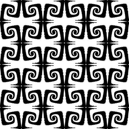 Design seamless monochrome spiral movement pattern. Abstract whirl background. Vector art Vector