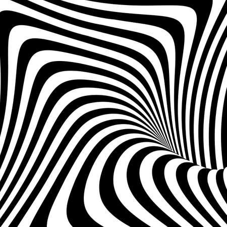 Design monochrome vortex movement illusion background. Abstract stripe torsion texture. Vector-art illustration Stock Illustratie
