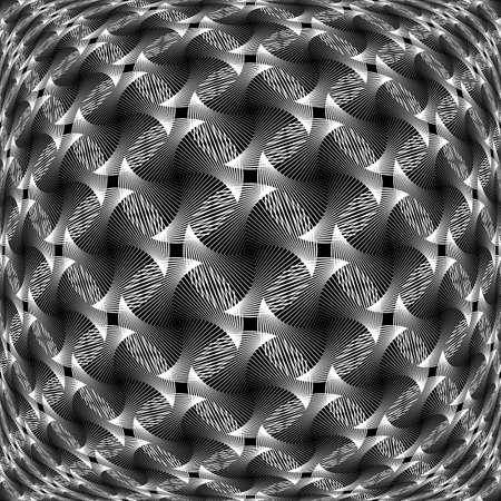 wattle: Design monochrome warped grid decorative pattern. Abstract diagonal background. Vector art. No gradient
