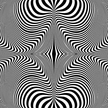 salient: Design monochrome vortex movement illusion background. Abstract striped distortion backdrop. Vector-art illustration