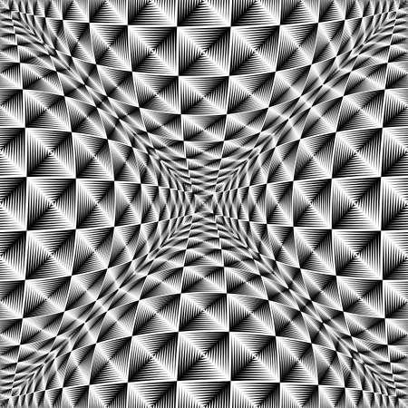 volumetric: Design warped square volumetric pattern. Abstract geometric monochrome background. Vector-art illustration. No gradient