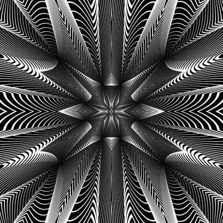 distortion: Design monochrome grid background. Abstract striped distortion geometric backdrop. Vector-art illustration. No gradient