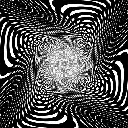 interlaced: Design uncolored trellis interlaced spiral background. Abstract round decorative grid textured backdrop. Vector-art illustration. No gradient