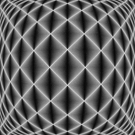 checkered volume: Design seamless diamond trellised pattern. Abstract geometric monochrome background. Convex texture. Vector art. No gradient