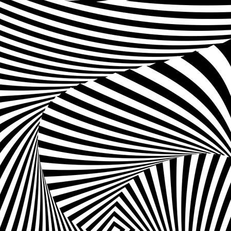 deform: Design monochrome convex movement illusion background. Abstract striped distortion backdrop. Vector-art illustration