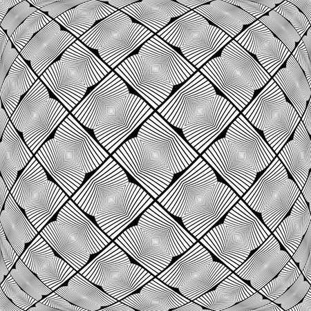 convex shape: Design warped monochrome geometric pattern. Abstract textured background. Vector art. No gradient