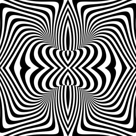 Design monochrome vortex movement illusion background. Abstract stripe torsion texture. Vector-art illustration  イラスト・ベクター素材