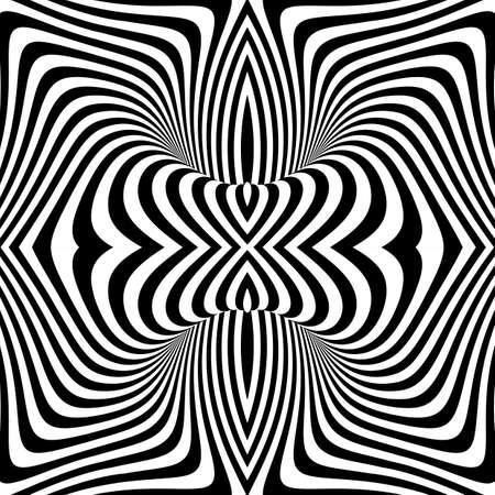 디자인 흑백 소용돌이 운동 환상 배경. 추상 스트라이프 비틀림 질감. 벡터 아트 그림 일러스트