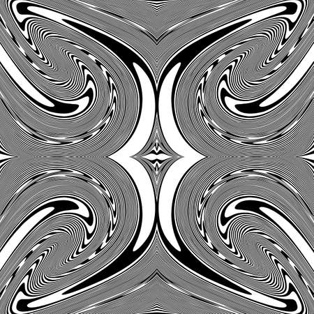no movement: Design monochrome spiral movement illusion background. Abstract strip lines warped backdrop. Vector-art illustration. No gradient