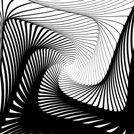 Design whirlpool movement illusion background. Abstract hexagon distortion geometric backdrop. Vector-art illustration. No gradient